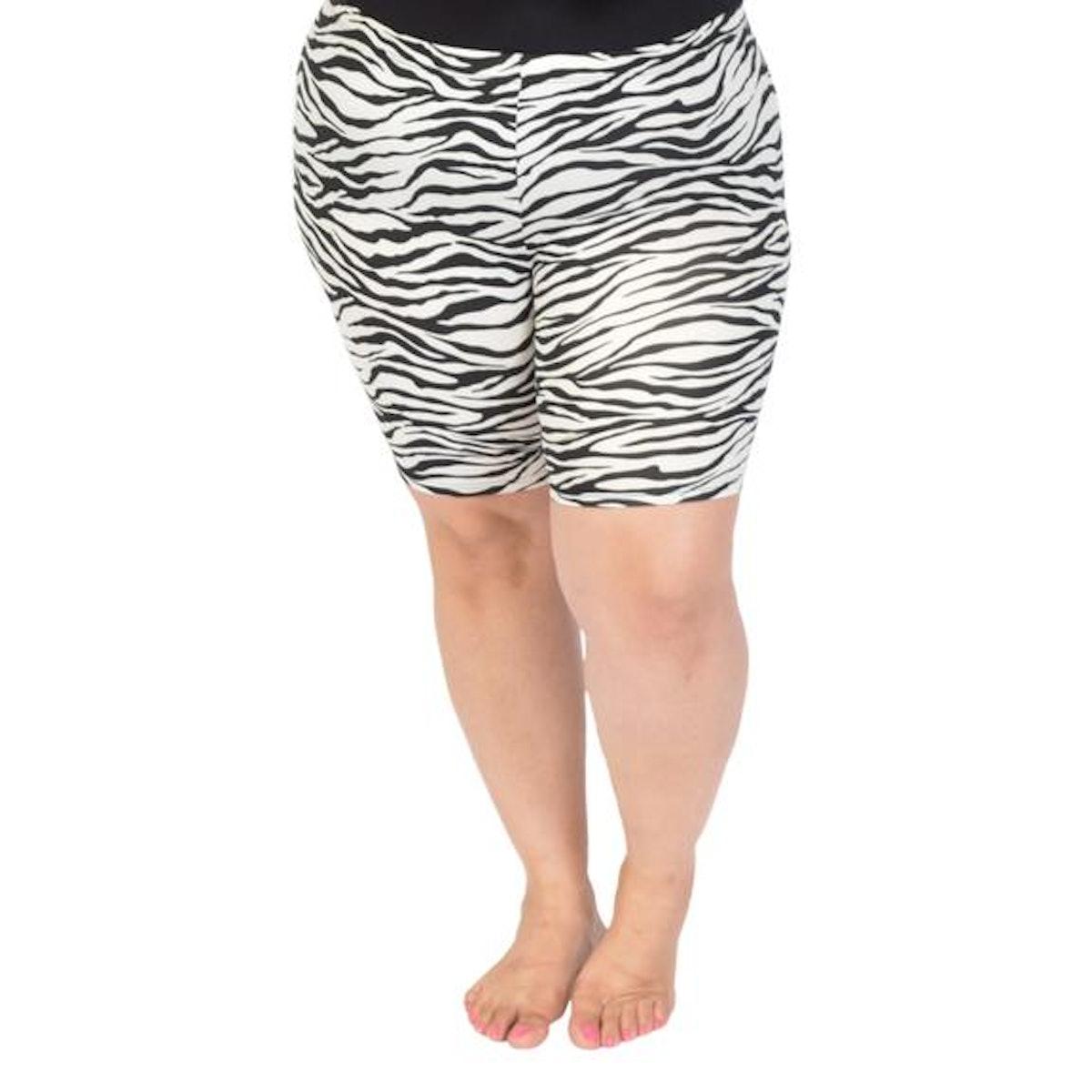 Women's Plus Size Stretch Print Bike Shorts in Zebra