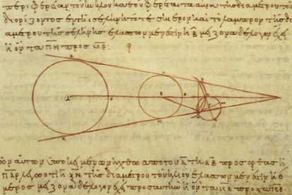 A 10th century reproduction of a diagram by Aristarchus showing some of the geometry he used in his ...