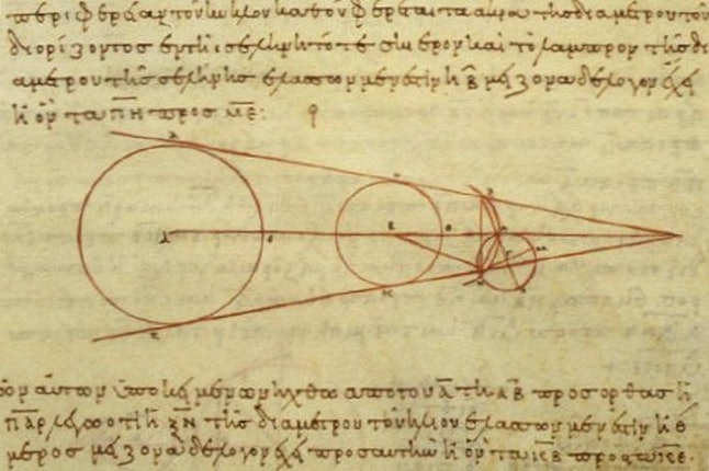 A 10th century reproduction of a diagram by Aristarchus showing some of the geometry he used in his calculations. wikipedia, CC BY-SA