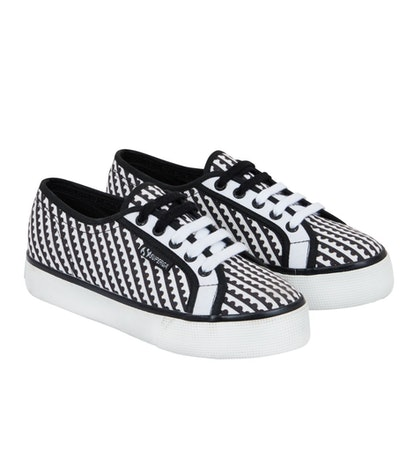 Canvas Trainers Black And White Perforation