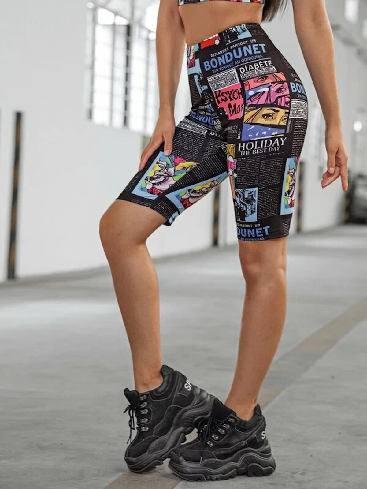 Romwe Newspaper Print Biker Shorts Without Chain