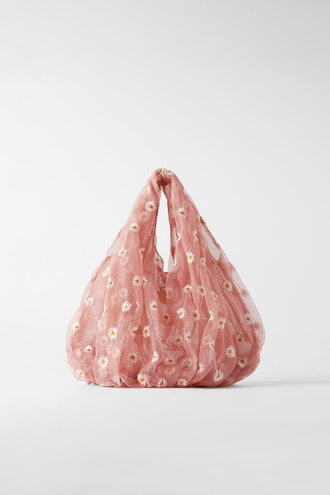 EMBROIDERED TULLE BUCKET BAG