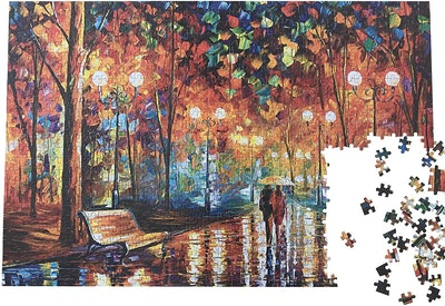 Ingooood Wooden Jigsaw Puzzle 1000 Pieces for Adult - Rainy Night Walk