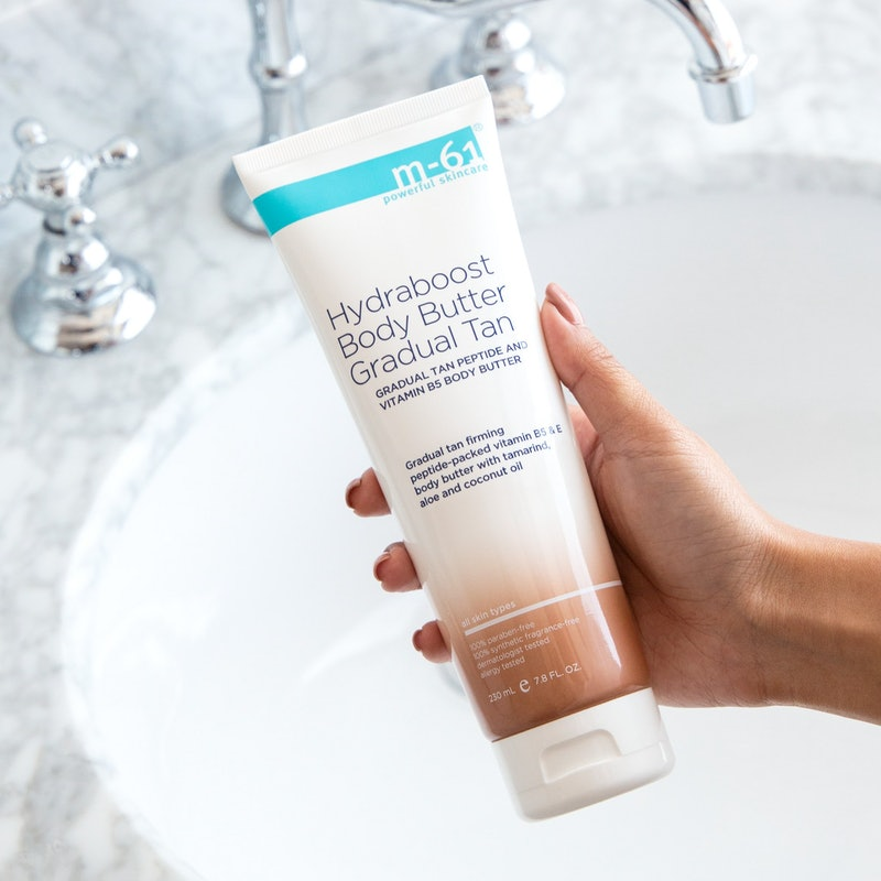 M-61's Hydraboost Gradual Tan Body Butter is back in stock after selling out in February