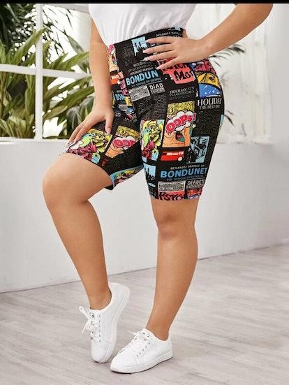 SHEIN Plus Pop Art Print Biker Shorts