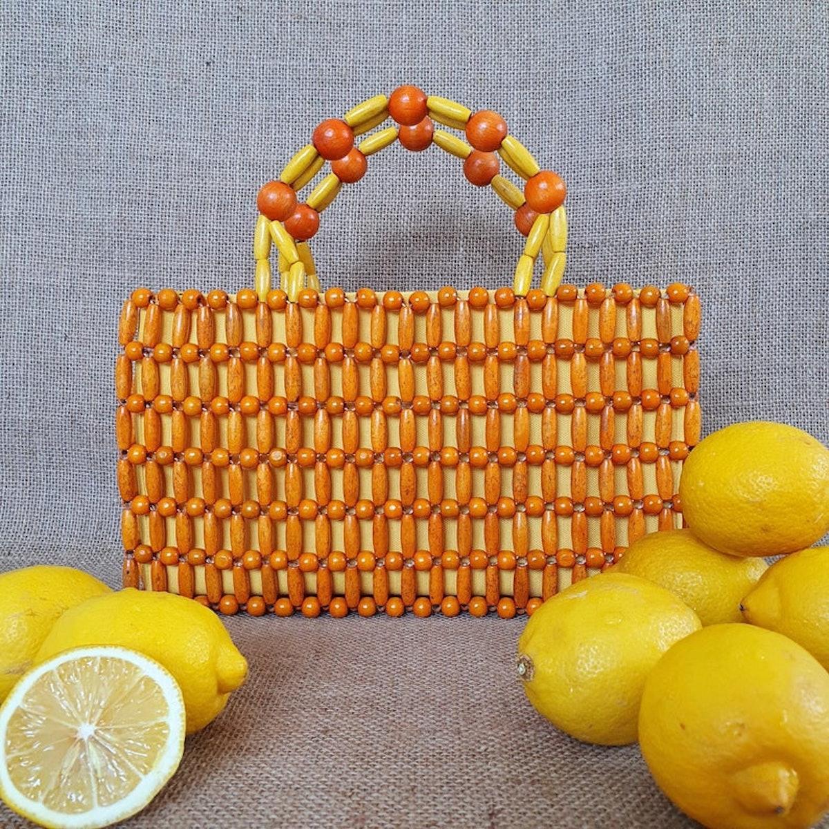 DSignbyDi's Orange, Wooden Bead Bag