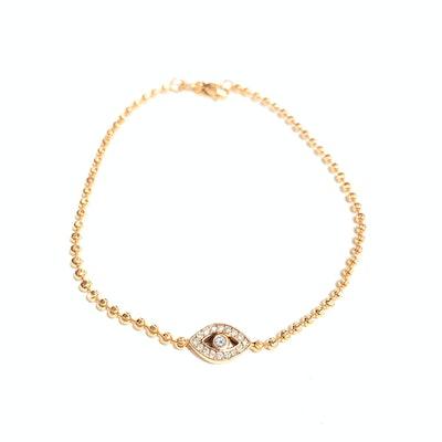 Diamond Evil Eye Bracelet 14k Gold
