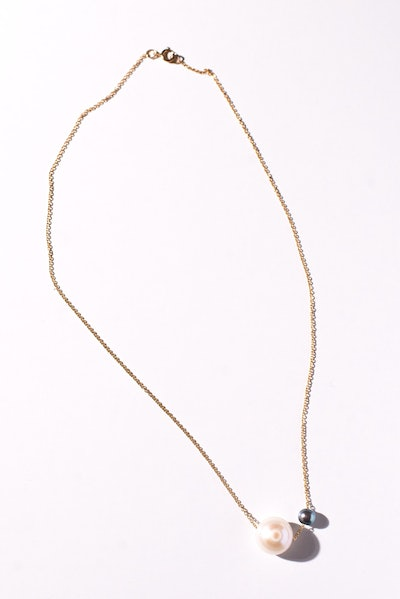 Double White & Black Pearl Necklace