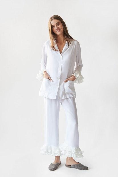 """Pierrot"""" Party Pajama Set in White"""