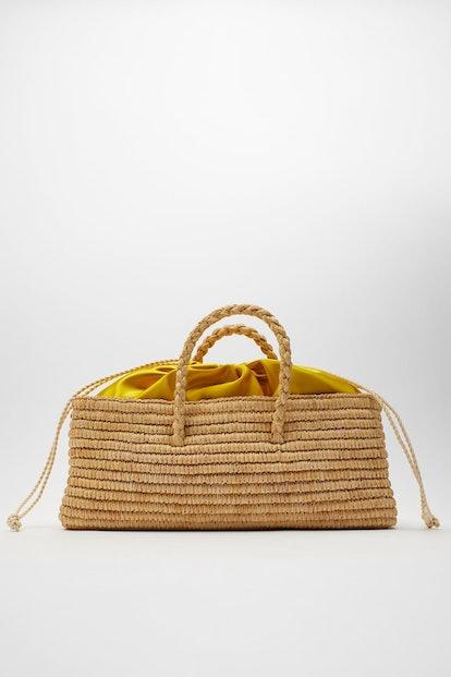 NATURAL RAFFIA BASKET BAG