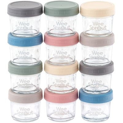 WeeSprout Glass Baby Food Storage Containers (Set of 12)