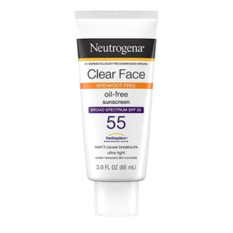 Neutrogena Clear Face Sunscreen for Acne-Prone Skin, Oil & Fragrance Free, Broad Spectrum SPF 55