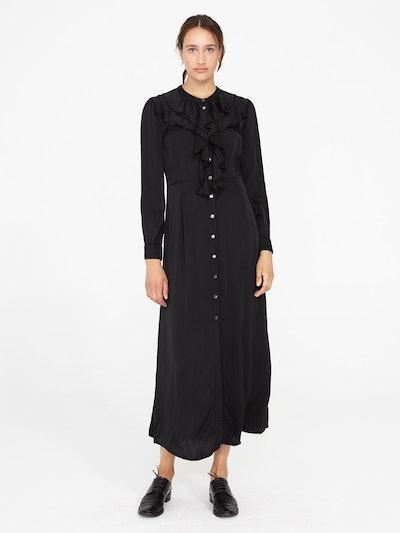 Black Matte Satin Victorian Ruffle Dress