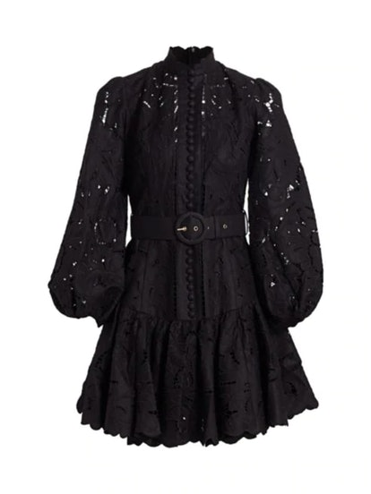 Edie Embroidered Lace Mini Dress