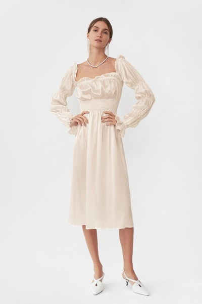 """Michelin"" Silk Dress in Pearl White"