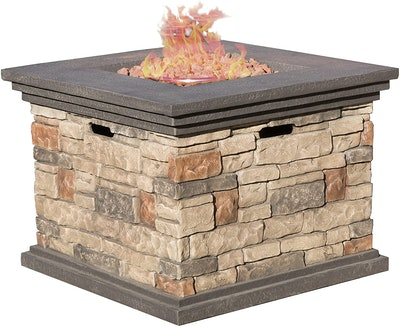 Christopher Knight Home Square Propane Fire Pit With Stone