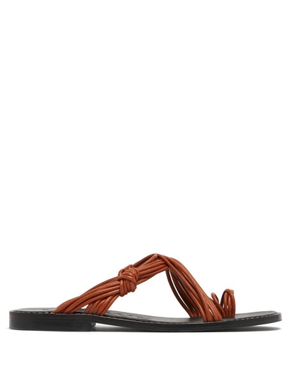 Toe-Ring Leather Sandals