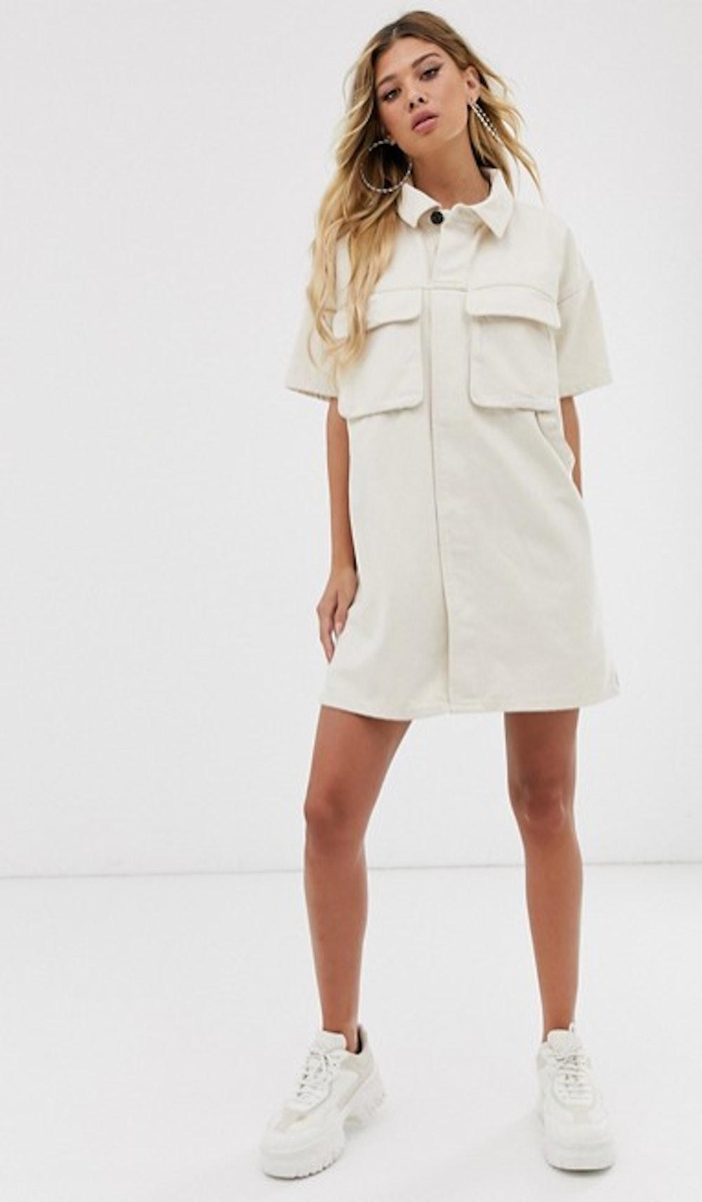 denim boxy shirt dress