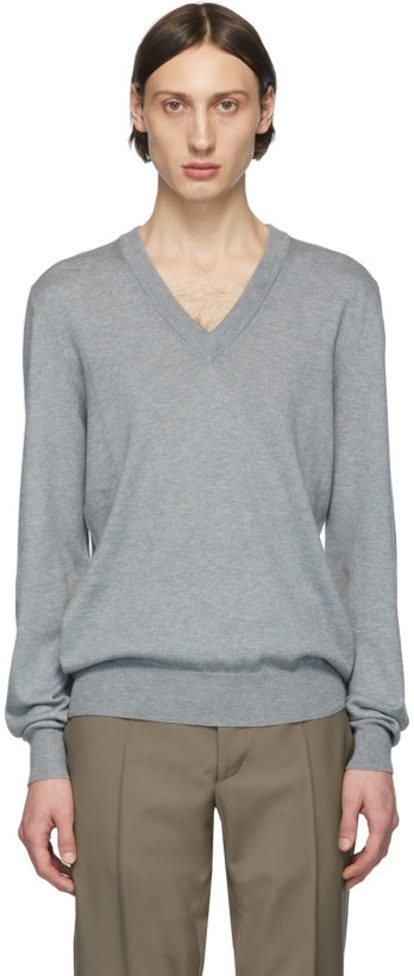 Grey Elbow Patch V-Neck Sweater