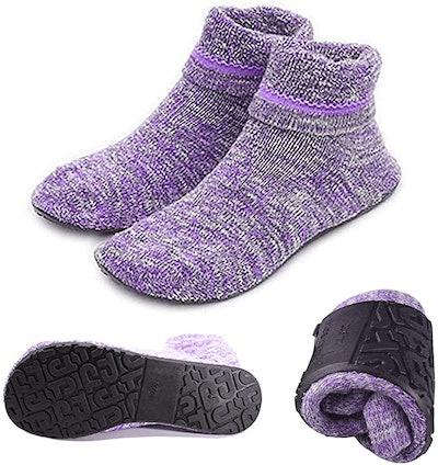 Aiyue Non-Slip Fuzzy Slipper Socks with Waterproof Soles
