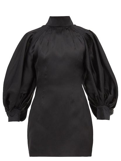 Balloon-sleeve silk-organza mini dress