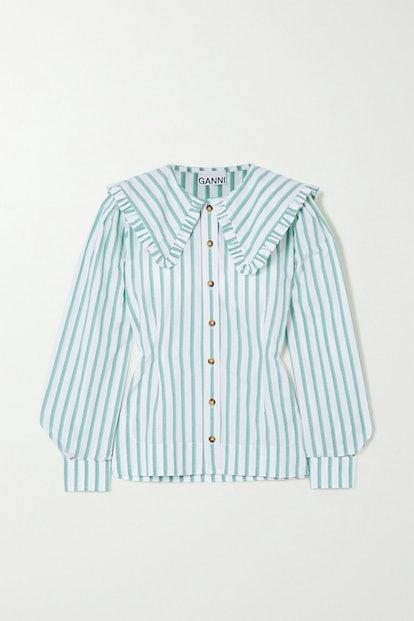 Feathery Striped Cotton-Poplin Blouse