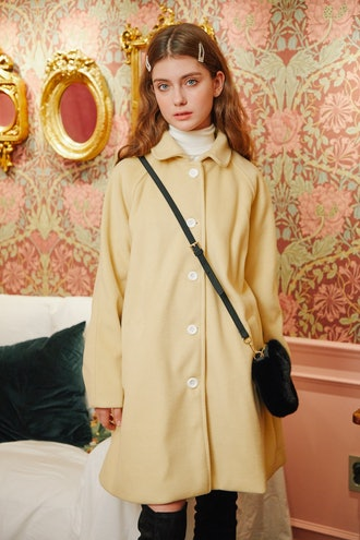 [LETTER FROM MOON] Bell Line Wool Coat in Lemon