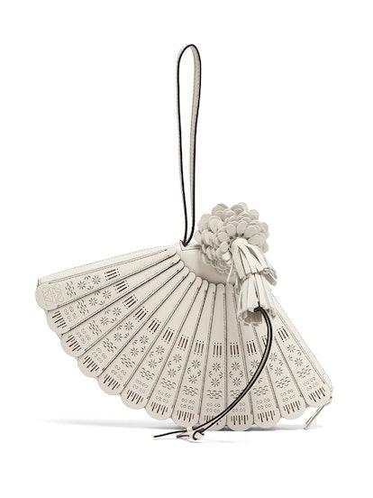 Fan Leather Wristlet Bag