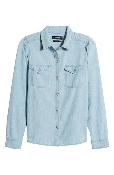 Lucky Brand Danni Cotton Chambray Utility Shirt