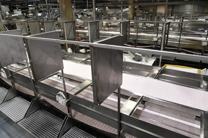 Meat processing stations at the JBS Beef Plant in Greeley, Colo., equipped with new sheet-metal part...