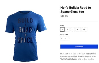 "One selection from the Blue Origin store, which says ""Build a Road to Space."""