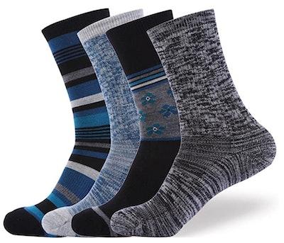 EnerWear Merino Wool Outdoor Socks (4-Pack)