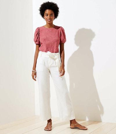Loft Linen Blend Wide Leg Pants