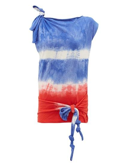 Tie-Dye Asymmetric Tie-Knot Top
