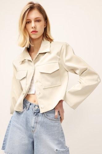 Madison Pleather Cropped Jacket
