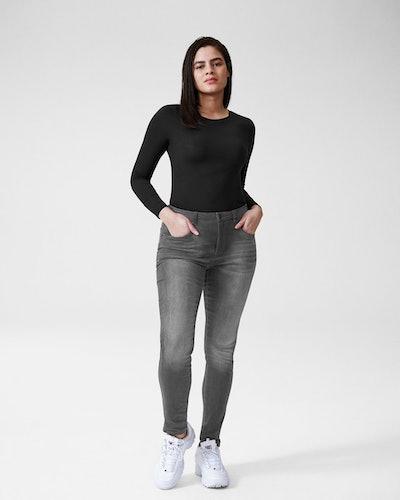 Logan High Rise 5 Pocket Vintage Jeans - Distressed Grey