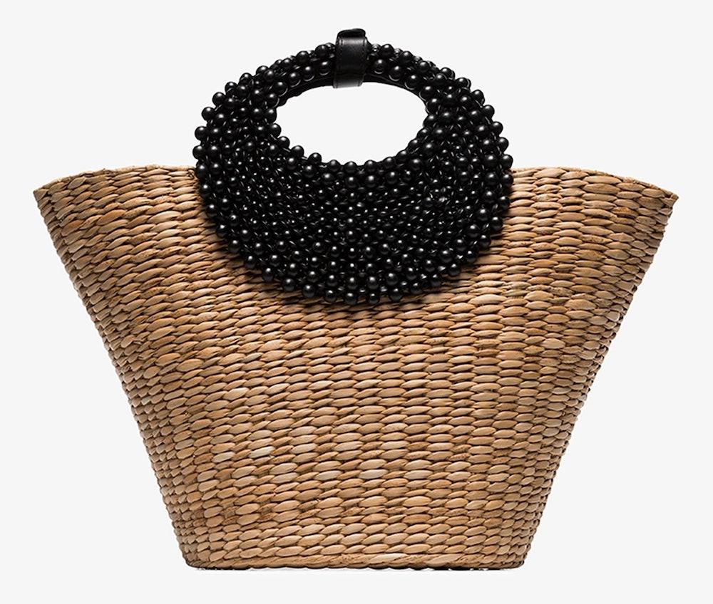 Nude And Black Pebble Raffia Tote Bag