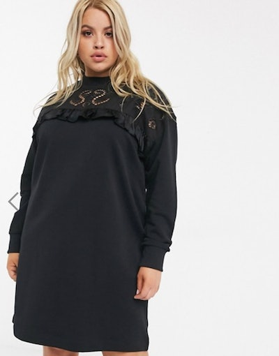 River Island Plus broderie frill sweat mini dress in black