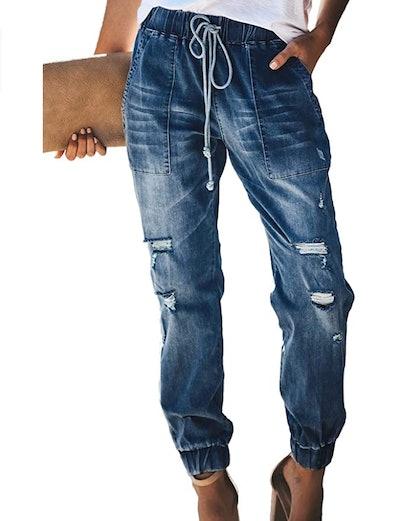 Sidefeel Pull-On Distressed Denim Pants
