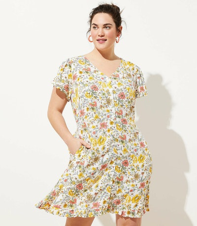 Loft Plus Garden Ruffle Pocket Dress