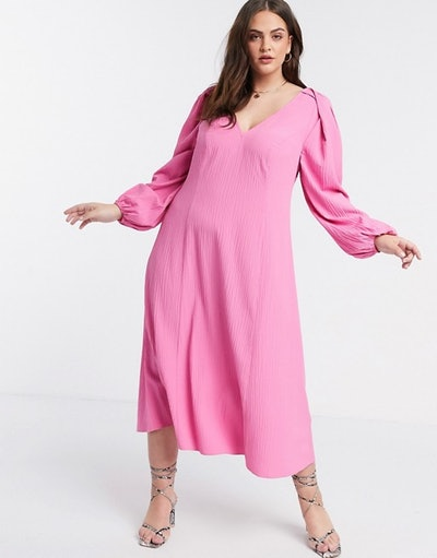 ASOS Design Curve Trapeze Midi Dress with Lace Up Back