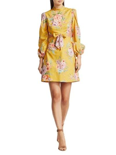 Zinnia Cutout Linen Mini Puff-Sleeve Dress