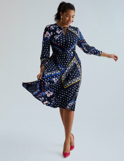 Eloquii Mixed Print Tie Neck Fit and Flare Dress