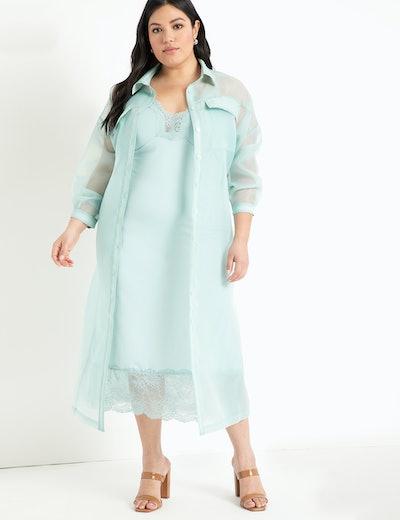 Eloquii Slip Dress with Lace Trim