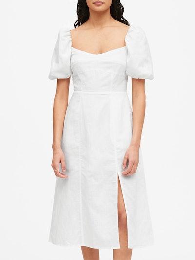 Banana Republic Linen-Cotton Puff-Sleeve Dress