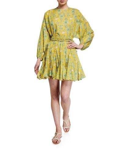 Ella Printed Long-Sleeve Dress