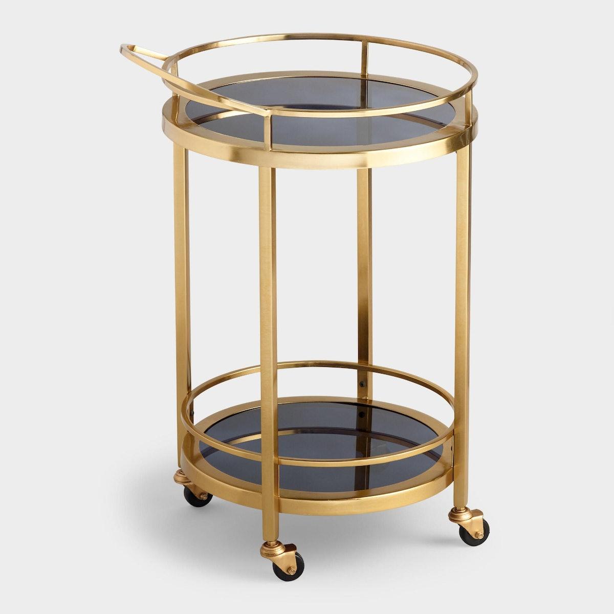 Round Smoke Black Glass And Gold Bar Cart