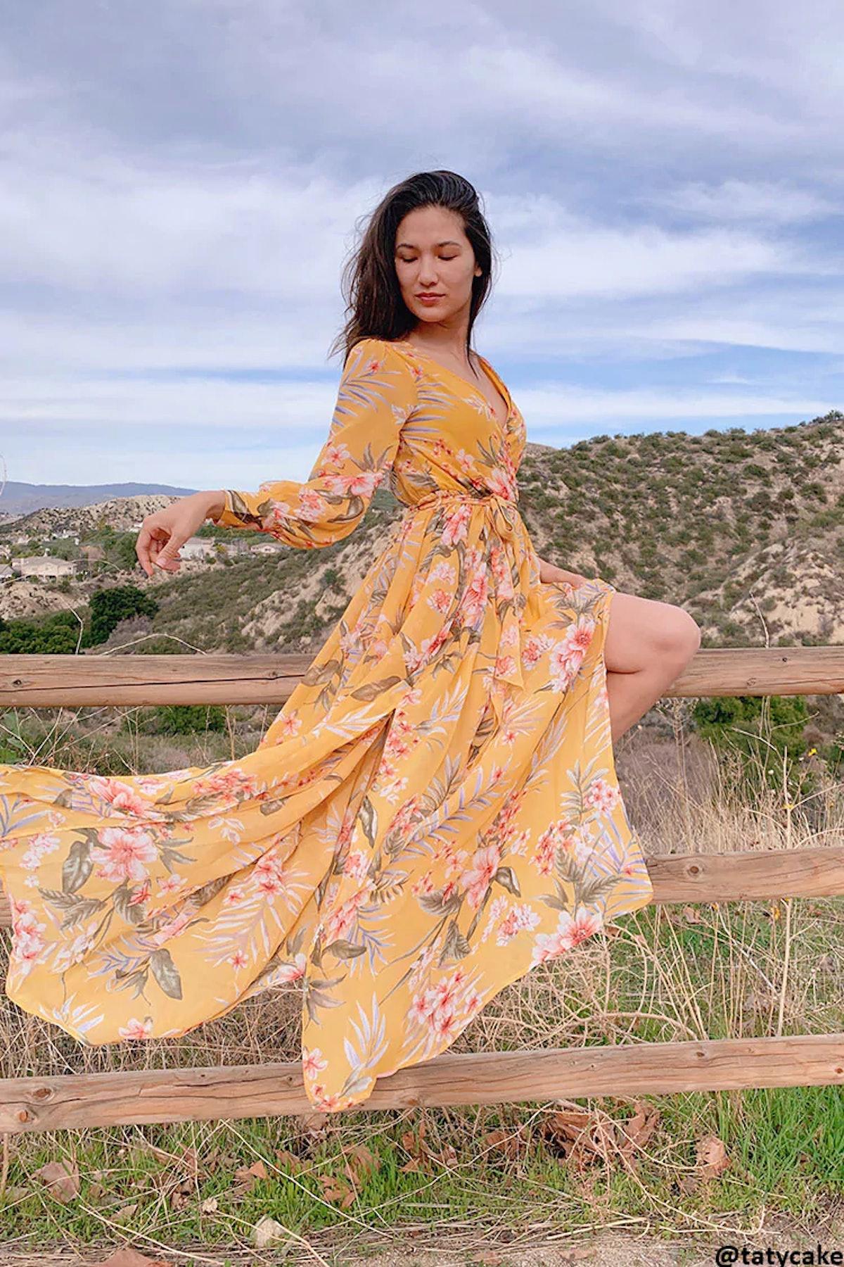 Forever 21 Chiffon Floral M-Slit Maxi Dress