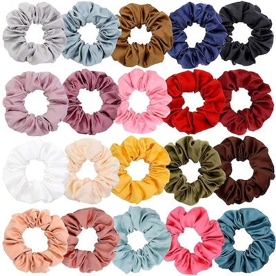 Chloven Large Satin Hair Scrunchies (20-Pack)