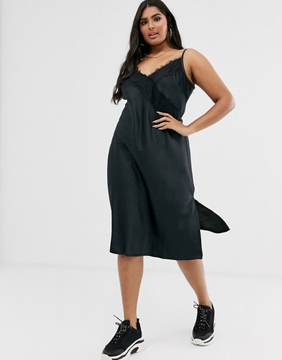 Simply Be Midi Slip Dress with Lace Trim